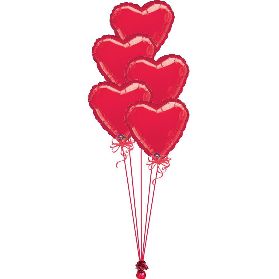 5 love hearts bunch red | magic balloons